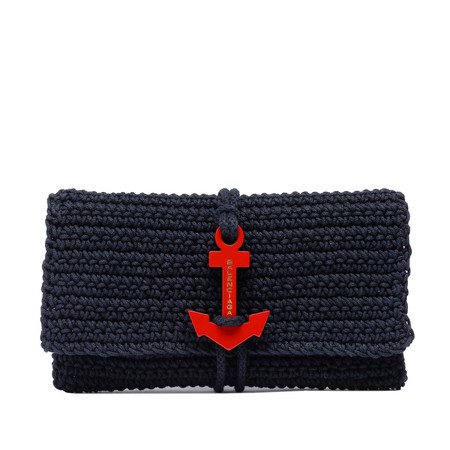 BLACK CROCHET ANCHOR CLUTCH