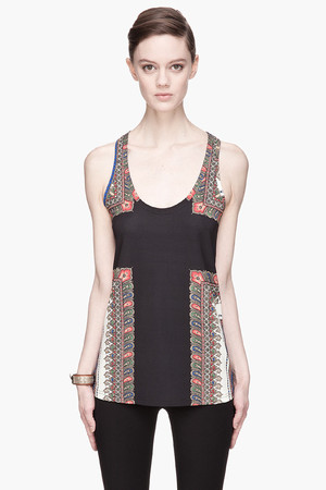 Black Crepe and Jersey Paisley Print Tank top