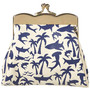 Blue Shark Print Clasp Purse