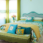 green&blue bedroom Wallpapered Headboard