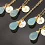5 Necklaces. Aqua Chalcedony Necklace. Personalized initial stamp - Gold. Bridesmaids Gift. Bridal Jewelry - Fifi LaBonge -