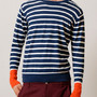 Border Long Sleeve Knitted Crew Neck(Navy)