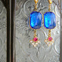 French Vintage Exotic Blue Parts Earrings