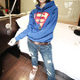 Sweet Cute Hooded Superman Print Warm Sweatshirt
