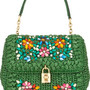 Dolce medium embellished raffia and leather shoulder bag