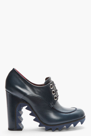 Navy leather lace-up Derby boots