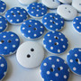 Wooden button white blue polka dots 18 mm set of ten button nr 23