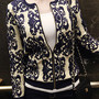 Vintage Contrast Color Crochet Pattern Short Cardigan Jacket Coat
