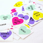 FREE SHIPPING -Retro Valentine's Conversation Hearts - Mix of 45 Mini 3/4 inch Stickers in Hot pink, purple, green, yellow & white