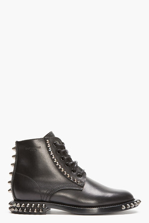 BLACK SPIKED LEATHER LACE-UP RANGERS BOOTS
