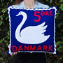 Danish swan stamp cushion cover