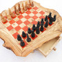 Olive wood monogrammed chess board