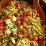 Summer Spaghetti - Spaghetti in Garlic Sauce with Herbs and Lemon Marinated Chicken and Cherry Tomatoes