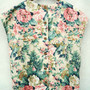 Vintage Tropical Flower Printed Beige Cap Sleeves Boxy Top