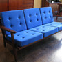 Button-Tufted Vintage Teak Sofa