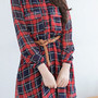 Red and Navy Blue Checks Plaids Button Down Shirt Dress