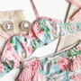 Mint and Pink  'Flora' Bra Large Print Floral with Polka Dot Ruffle Detail Made to Order by Ohhh Lulu