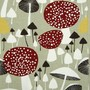 Mushroom Forest fabric vtg Almedahls Scandinavian DIY curtains cushion pillow