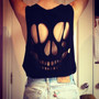 Skull Cutout Sleeveless Tank Top