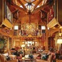 massive soaring ceiling in this log home