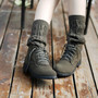 Brtish Style Vintage Lace Up Knitted Wool Sock Martin Boots Ankle