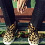 leopard print pony hair sneakers