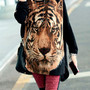 Oversized tiger head batwing long loose fit shirt blouse