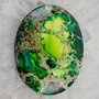 Green Sea Sediment Jasper Oval Pendant Bead