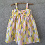 Pink, Yellow, Grey, White, Geometrical/Triangle pattern, Baby/Toddler Dress,