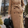 Image of [grzxy6600583]Stylish Classy Pure Color Double Breast Long Worsted Coat