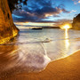 Photograph Cathedral Cove Beach Sunrise Starburst - New Zealand by Daniel Peckham on 500px