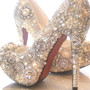 Cinderellas Wish... crystal, glass and pearl covered high heels