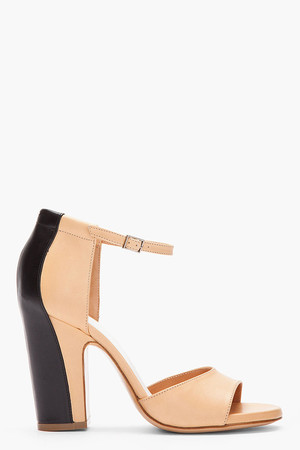 Tan two-tone Trompe L'oeil Heels