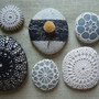 Crocheted Lace Stone, Black, Large, Handmade
