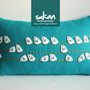Sukan / White Birds, Turquoise Linen Pillow Cover