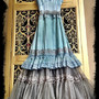 Mermaid Miss K revived cool gray pale aqua & seafoam lace petticoat boho maxi dress