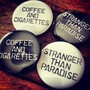 "CAN BADGE ""COFFEE AND CIGARETTES"" & ""STRANGER THAN PARADISE"""