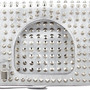 White Alix Studded Foldover Clutch Bag Silver