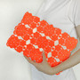 Clutch orange lace - white, neon,fluorescent, vintage upcycled, large purse, hand painted accessory OOAK