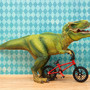 t. rex dinosaur and bmx diorama, boys room decor, blue and green - Trail Shredder