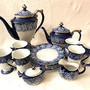 BOMBAY  TILE  19pc COFFEE & TEA POT SET RARE - DESSERT PLATES BLUE PLATINUM