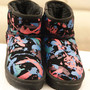 Warm Colorful Graffiti Pattern Faux Shearling Women's Bootie