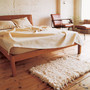 OAK FURROWED LEATHER BACK BED