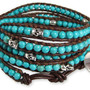Skull Turquoise Brown Leather Wrap Bracelet