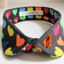 Rainbow heart small button down embellished collar, sequinned collar embroidered hearts