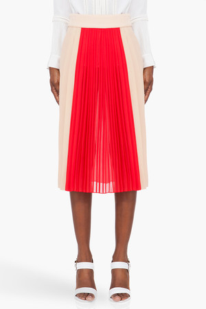 Blush & Red Pleated Silk Skirt
