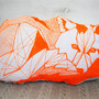 Neon Orangle Geometric Screen Printed Linen Fox Pillow