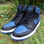 NIKE AIR JORDAN 1 BLACK-BARSITY ROYAL PYTHON CUSTOMED BY JBFCUSTOMS