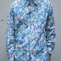 TAB COLLAR SHIRT - Big Floral Print / Blue