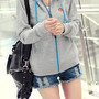 [grzxy6601303]Casual Candy Color Hoodie Zip Up Sweatshirt Jacket Coat